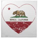 corazón del benecia de la bandera de California ap Servilletas