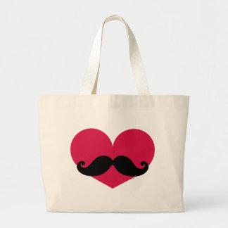 Corazón del bigote bolsa tela grande