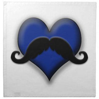 Corazón del bigote del bigote en azul servilleta imprimida