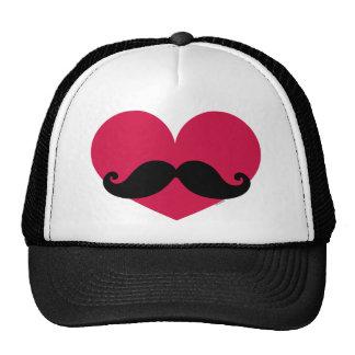 Corazón del bigote gorros