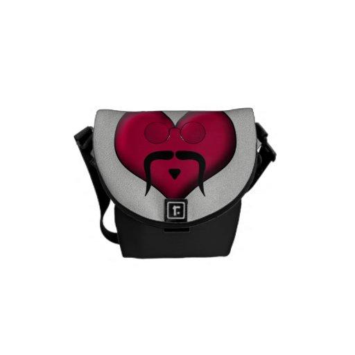 ¡Corazón del bigote - muy retro! Bolsas De Mensajería