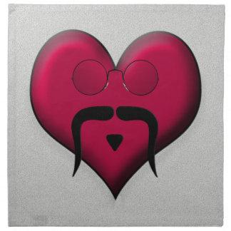¡Corazón del bigote - muy retro! Servilletas De Papel