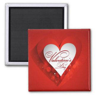 Corazón del blanco del el día de San Valentín Imán Cuadrado
