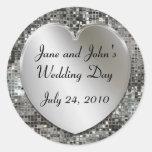 Corazón del boda y pegatinas de las lentejuelas etiqueta redonda