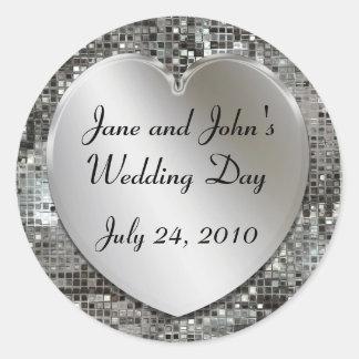 Corazón del boda y pegatinas de las lentejuelas pegatina redonda