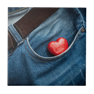 Corazón del bolsillo azulejo cuadrado pequeño