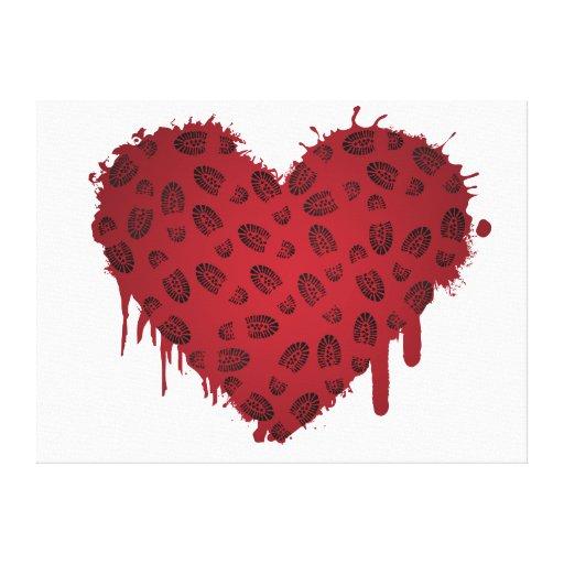 corazón del bootstomp impresión en lienzo