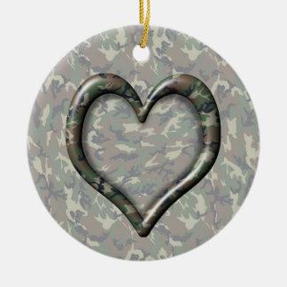 Corazón del bosque del arbolado del camuflaje en C Adorno