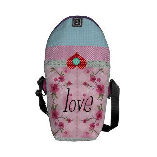 corazón del botón del amor bolsa de mensajeria