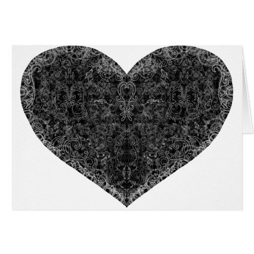 Corazón del brocado tarjetón