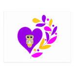 Corazón del búho tarjetas postales