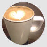 Corazón del café etiquetas redondas