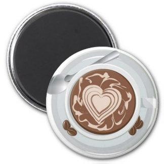 Corazón del café imán para frigorífico