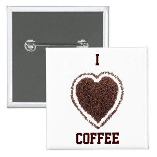 corazón del café pin cuadrado