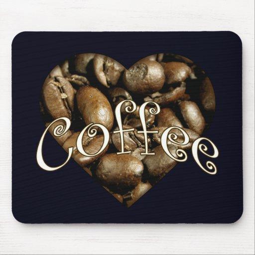 Corazón del café tapete de ratones