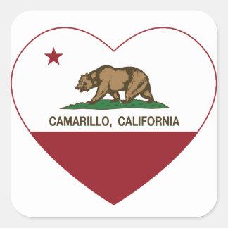 corazón del camarillo de la bandera de California Pegatina Cuadrada