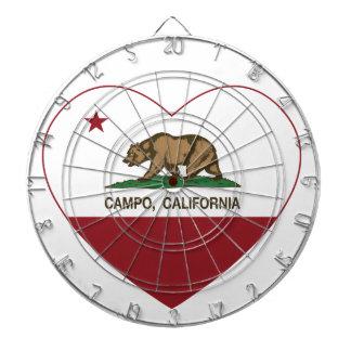 corazón del campo de la bandera de California Tablero Dardos