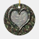 Corazón del camuflaje adorno para reyes