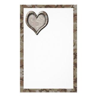 Corazón del camuflaje - desierto personalized stationery