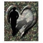 Corazón del camuflaje - hombre que falta del hombr escultura fotográfica
