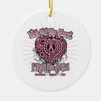 Corazón del cáncer de pecho que lucho como un ornamente de reyes