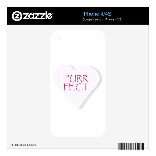 Corazón del caramelo de Fect del ronroneo iPhone 4S Skin