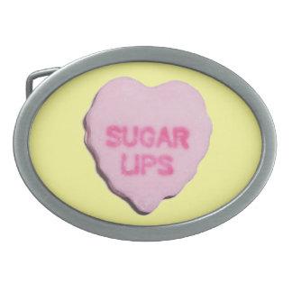 Corazón del caramelo de la tarjeta del día de San  Hebillas De Cinturon Ovales