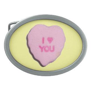 Corazón del caramelo de la tarjeta del día de San  Hebilla Cinturon Oval