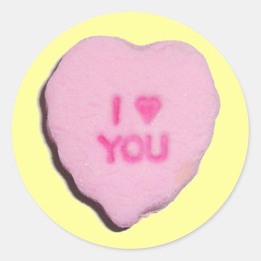 Corazón del caramelo de la tarjeta del día de San  Pegatinas Redondas