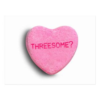Corazón del caramelo del Threesome Tarjetas Postales
