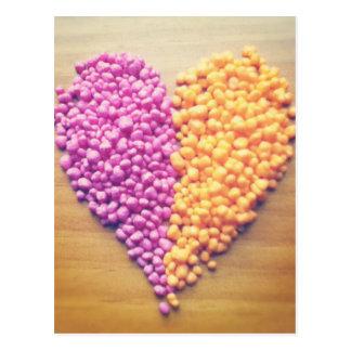 Corazón del caramelo postales