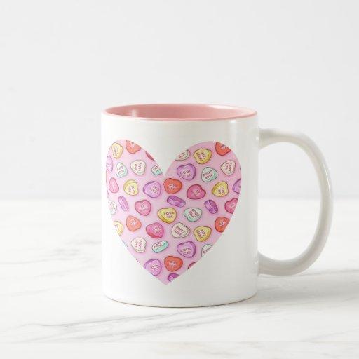 Corazón del caramelo taza de café