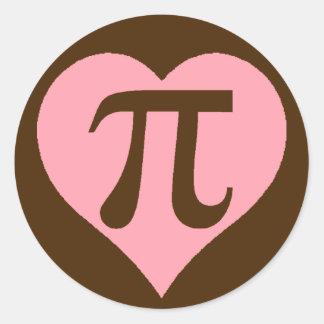 Corazón del chocolate pi pegatina redonda