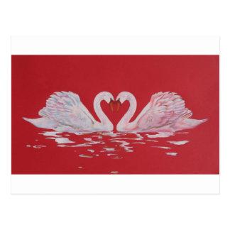 Corazón del cisne tarjeta postal