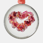 Corazón del clavel ornamento para arbol de navidad
