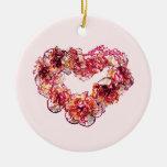 Corazón del clavel ornaments para arbol de navidad
