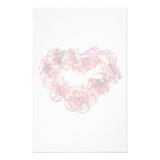 Corazón del clavel papelería personalizada