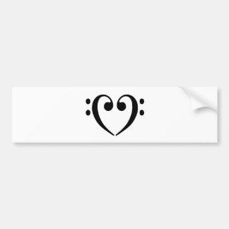 Corazón del Clef bajo Etiqueta De Parachoque
