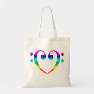 Corazón del Clef bajo del arco iris Bolsas Lienzo