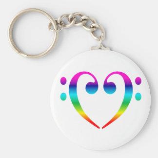 Corazón del Clef bajo del arco iris Llavero Redondo Tipo Pin