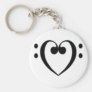 Corazón del clef bajo (negro) llavero personalizado