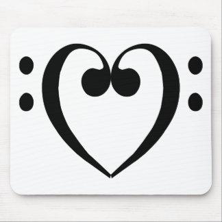 Corazón del clef bajo negro alfombrilla de raton