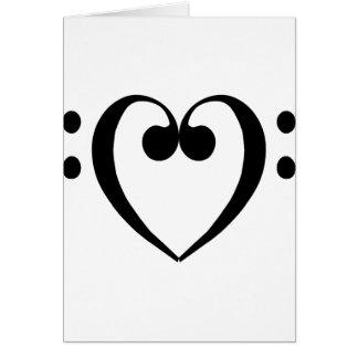 Corazón del clef bajo (negro) tarjeta de felicitación