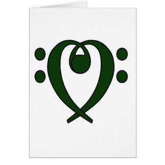 Corazón del clef bajo verde oscuro tarjeta pequeña