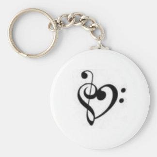 corazón del clef llavero redondo tipo pin
