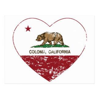 corazón del coloma de la bandera de California Postal