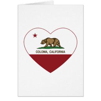 corazón del coloma de la bandera de California Tarjeta De Felicitación