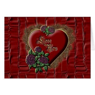 Corazón del cordón del oro tarjeta de felicitación