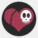 Corazón del cráneo pegatinas redondas