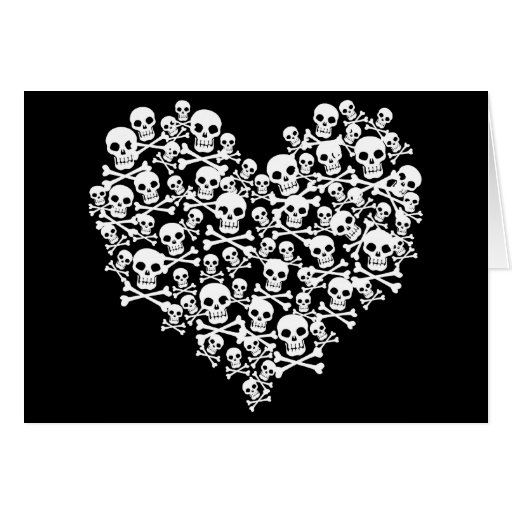 Corazón del cráneo tarjeta